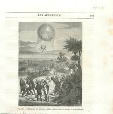 Manoeuvre des ballons captif armées révolution française Aérostat GRAVURE 1890