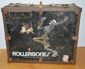 Vintage ROLLERBONES Roller Skate Case Box 1980 Metal & Wood Trunk Retro Antique