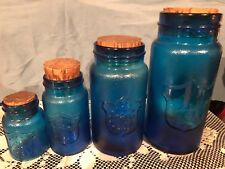 Crownford China Co Blue Glass Jar Set (4) with Corks, Shield and Eagle