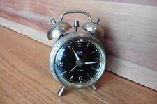 Vintage Jerger Anker Florn Alarm Clock double bell Mini West Germany gold tone