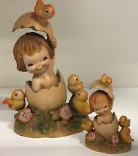 """Vintage Italy Anri Juan Ferrandiz Baby """"Girl In Egg"""" Wood Carved Easter lot"""