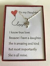 Sterling silver heart Pendant necklace w/ love poem for your daughter.