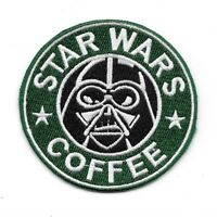 "Star Wars Coffee with Darth Vader Face Spoof Parody 3.25"" Embr. Sewn/Iron PATCH"
