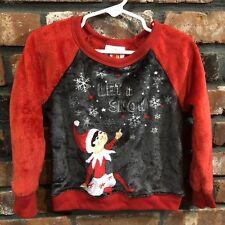 Elf on the Shelf Girl's XS Plush Long Sleeve Let It Snow Pajama Top Sleep Shirt