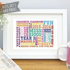 Personalised Best Teacher Gift Word Art Print School Leaver Present Picture