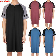 Men Comfort Shirt Short Sleeve Sleepwear Nightgown Raglan Long Night Sleepshirt#