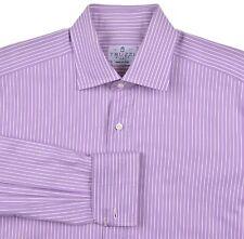 Truzzi Milano Handmade in ITALY Purple White Stripe Spread Collar Dress Shirt 16
