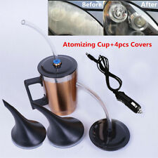 12V Car Headlight Lens Repair Restoration Kit Restorer Atomization Cup+4PC Cover