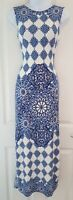 Womens Warehouse Maxi Dress size 10 blue white side slits summer holiday vgc