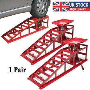 2pcs Car Ramps with Hydraulic Lifting Jack 2000kg Adjustable Height Garage UK