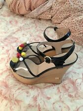 Moschino Wedge Platform Sandals Size 6 With Charms