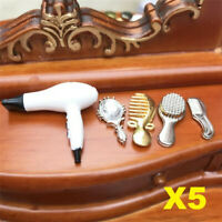 5Pcs Set 1:12 Dollhouse Miniature Furniture Bathroom Combs Hair Dryer Mirror