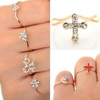 Wholesale 10pc Bulk Gold Plated Cute Womens Party Crystal Fashion Rings Jewelry