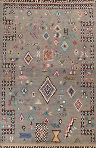 Geometric Tribal Moroccan Oriental Area Rug Hand-knotted Classic 7'x11' Carpet