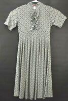 DownEast Basics Women's Large Short Sleeve Ruffle Neck Stretch Midi Dress Gray