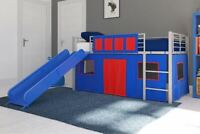 LOFT BED Twin Kids Play House with Slide Blue