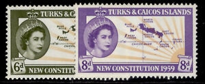 TURKS & CAICOS ISLANDS QEII SG251-252, complete set, M MINT.