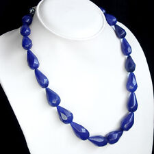 TOP CLASS 355.00 CTS NATURAL FACETED PEAR SHAPED BLUE SAPPHIRE BEADS NECKLACE