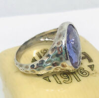 Fabulous Faceted Amethyst Crystal Ring Hammered Silver Plate Sz7 Vintage Jewelry