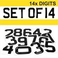 14x 3d Gel Number Plates Black Domed Resin Making DIY REG DIGITS PACK SET OF 14