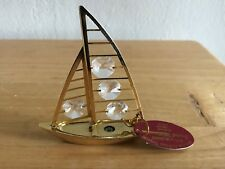 2002 Sailboat Crystal Millennium 24K Gold Plated Australian Crystal Orig Tag