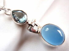 Faceted Blue Topaz & Chalcedony Necklace 925 Sterling Silver Imported from India