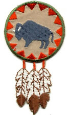 Buffalo - Southwestern Round W/Feathers Embroidered Iron On Applique Patch