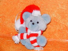 "Vintage Christmas Tree Ornament Pom Pom Balls Gray Teddy Bear Plush 3"" Scarf Hat"