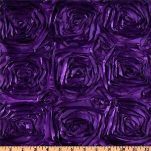 "100 ft Rosette Satin Aisle Runner 54"" Wide 3D Fabric Spiral Ribbon Rose Made USA"
