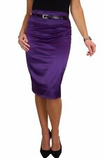 Womens Satin Pencil Skirt Free Belt Purple Evening Party Day NEW Size 8-18