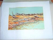 Lithographie Maurice BUFFET (1909-2000), Barques échouées, côte bretonne