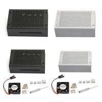 Aluminum Metal Case Enclosure Box Shell Cooling Fan for Raspberry Pi 4B BK/SL AU