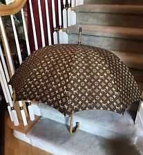 Vintage 1970s Louis Vuitton Wood Handle Cotton Fabric Umbrella Parasol Excellent