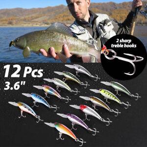 "12 PCS 3.6"" Fishing Lures Crankbaits Hooks Minnow Baits Tackle Twitching Bass"