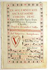 ILLUMINATED MANUSCRIPT ANTIPHONAL LEAF Italy c1776 FEAST SACRED HEART OF JESUS