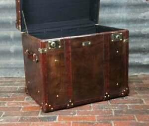 Bespoke English Handmade Leather Side Table Trunk Chests HANDMADE DESIGN GIFT