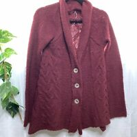 Free People Cowl Neck Cable Knit Button Up Sweater Cardigan Maroon Size S Boho