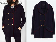 ZARA Navy Blue Military Knit Wool Jacket with Red Piping Metallic Buttons S BNWT