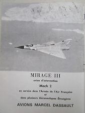 10/1966 PUB AVIONS MARCEL DASSAULT MIRAGE III MACH 2 FIGHTER ORIGINAL FRENCH AD