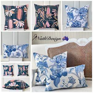 Hamptons Coastal Blue and White Cushion Covers Floral Jacobean Australian Flower