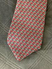 Hermes France Mens Pink Blue Gray Cube Block Print 100% Silk Tie
