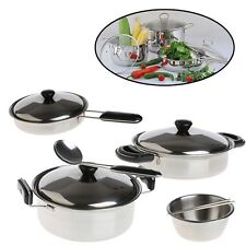 20Pcs Stainless Steel Pots Pans Cookware Miniature Toy Pretend Play Kid Gift