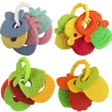 BT_ Newborn Baby Jingle Shaking Rattles Infant Fruit Chewing Teether Toy Set