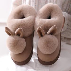 Women Girl Bunny Rabbit Winter Plush Warm Slipper Home Indoor Slip On Soft Shoes