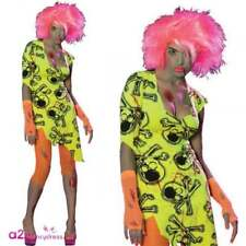 Ladies Toxic Zomie Babe Costume Adult Ladies Halloween Neon 80s Rave Fancy Dress