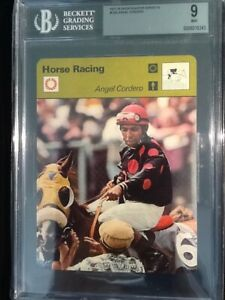 Beckett 9 MINT   Horse Racing Angel Cordero British   Sportscaster #12-23  1977
