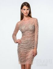 Terani Couture  Tulle nude illusion mini dress sequin 10