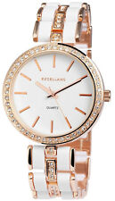 Excellanc Damen Armbanduhr 38 mm Metallarmband Weiß Gold Damenuhr Armband Uhr