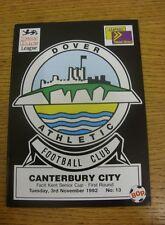 03/11/1992 dover Athletic V Canterbury CITY [Kent Senior Cup]. siamo lieti