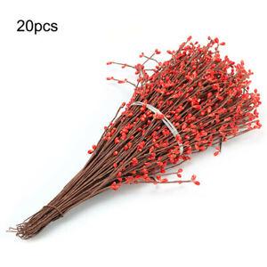 20pcs Artificial Berry Spray Stem Of Faux Berries Autumn Christmas Decor NEW